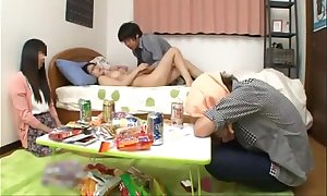 Japanese schoolgirl take grounds milk sacks going to bed a...