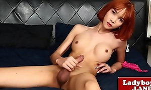 Redhead lady-boy tugging yourself 'til climax
