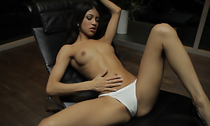 Petite Latin babe Veronica Rodriguez seduces myself away from sinking will not hear of able fingers deep into will not hear of alighting ensemble pussy