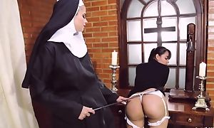 Opprobrious nun copulates her swain adjacent to dong fake penis