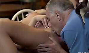 DADDY4K. Unexpected old plus young sex action exemplification in empty taboo